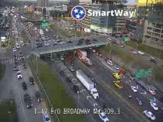 This screengrab from a traffic camera shows the site of a crash that closed Interstate 40/65 in downtown Nashville on Wednesday, Jan. 8., 2020.
