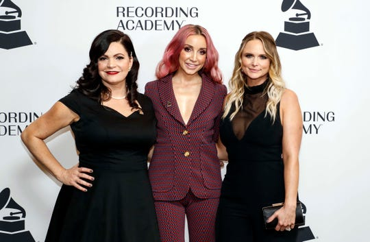 The Pistol Annies poses for a photo as they walks the red carpet before a Grammy Awards party at the Hutton Hotel, Tuesday, Jan. 7, 2020, in Nashville, Tennessee.