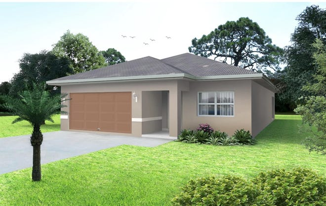 An artist's conception of the Fantasia, a new four-bedroom design available at Arrowhead Reserve, a community of single-family homes off Lake Trafford Road in Immokalee.