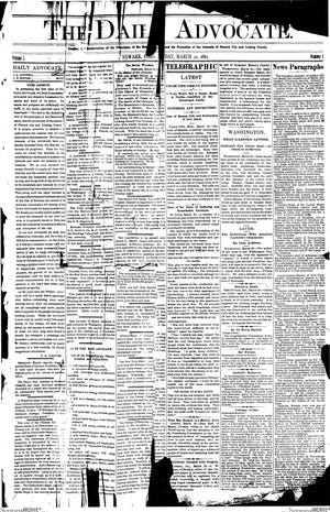 This front page appeared on the March 20, 1882 edition of The Daily Advocate, the first daily edition of the Newark paper.