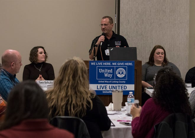Todd Farrell, recovery services manager at Behavioral Healthcare Partners, speaks at United Way of Licking County's Community Partners Council forum on addiction and community resources Wednesday at the Licking County Aging Program's Heritage Hall.