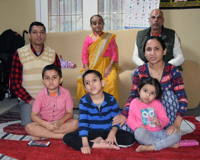 The Subedi family includes (from left) back row: Lok; Sabitra; Devi; and front row, Ritesh, 5; Ronish, 10, Ashmita, 3, and Hari.