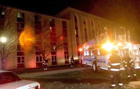 An early morning fire at Boland Hall, a Seton Hall University dorm in South Orange, sent 25 students to local hospitals Wednesday, Jan. 19, 2000. The building, which houses about 600 students, was evacuated and the fire was extinguished quickly.