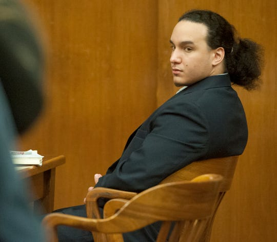 Fernando Carrero listened to Keri Lynn Lowenstein testify in his murder trial in Bergen County Superior Court. Carrero is charged with murdering Jose Hall in Lowenstein's Lyndhurst home five years ago.