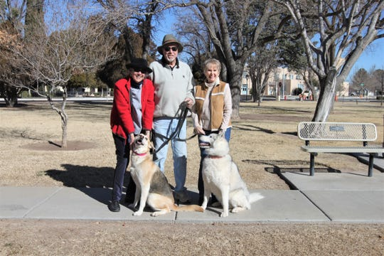 From left to right, Chris Wydra, Bob Kaiser and Penny Kaiser, with Gracie and Lakota.