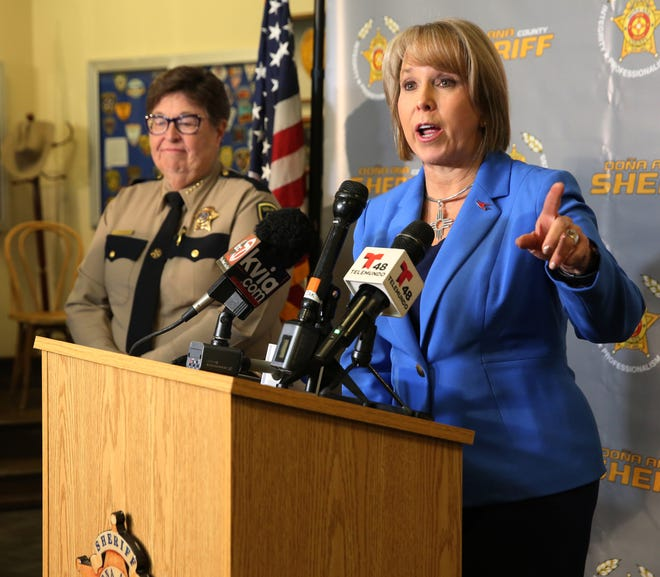New Mexico Governor Michelle Lujan Grisham in Las Cruces, Wednesday Jan. 8, 2020, introducing an extreme risk gun bill, which would allow family members and law enforcement officers to temporarily remove guns from a person deemed a risk.