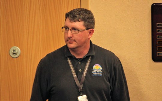 Matt Dawkins, the information technology director for Las Cruces Public Schools, answered questions about a recent cyber attack during the school board meeting on Tuesday, Jan. 7, 2020.