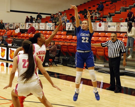 Carlsbad's Patti Oliver shoots a 3-pointer against Artesia on Jan. 7, 2020. Oliver scored 11 points in the second quarter.
