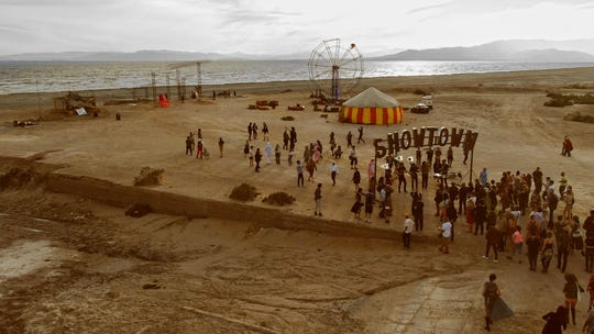 """A film still from Rancho Mirage director Leo Zahn's documentary """"Iconicity,"""" about art in the California desert, featuring the Bombay Beach Biennale."""