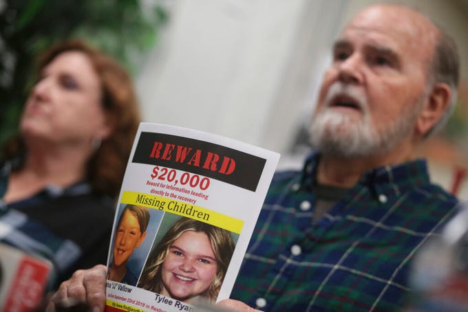 "Kate and Larry Vallow speak to reporters at the Rexburg Standard Journal Newspaper in Rexburg, Idaho, on Jan. 7, 2020. The Vallows are offering $20,000 for information that leads to the recovery of Joshua ""JJ"" Vallow and Tylee Ryan. Joshua Vallow and Ryan were last seen Sept. 23, 2019."