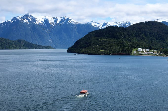 Fjords near Puerto Chacabuco in the Patagonia region of southern Chile.