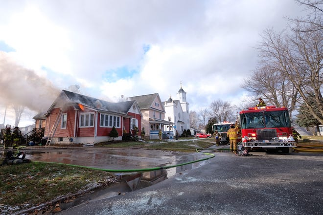 Several fire departments responded to a house fire on West Boulevard in Marine City Wednesday morning.
