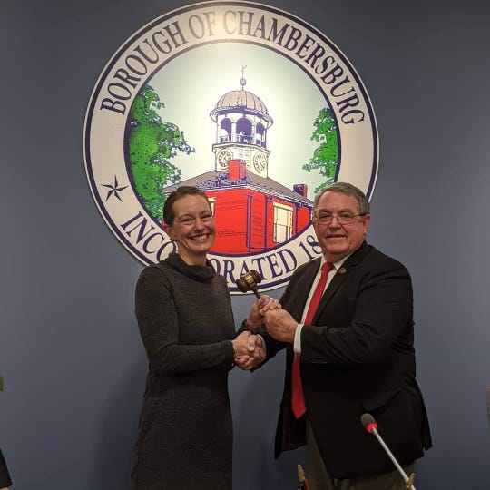 Alice Elia was sworn in as the Chambersburg Borough's first female president. Monday's meeting was officiated by Mayor Walt Bietsch, who served as chair until a council president was selected.