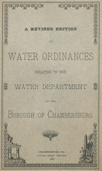 This is the cover of the Water Ordinances for the Water Department in Chambersburg for the year 1883.