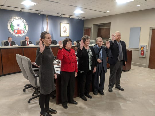 Five members of Town Council received the oath of office from Magisterial District Judge Glenn Manns. Members sworn in included Alice Elia (First Ward), Kathy Leedy (Third Ward), Sharon Bigler (Fourth Ward), Bill Everly (Fifth Ward) and John Huber (Second Ward).