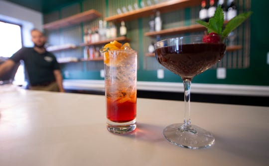 An Americano and Mary Berry sit on top the bar Aviano's Corner Trattoria in downtown York.