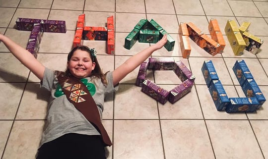 Whitney Burkhart of Troop 04256 has a message of thanks for those who purchase Girl Scout cookies.