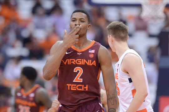 Virginia Tech Hokies guard Landers Nolley II (2) reacts after scoring against the Syracuse Orange in the second half at the Carrier Dome.