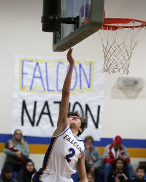 Veribest High School's Konner Barnes makes a layup during a home game against Bronte on Tuesday, Jan. 7, 2020.