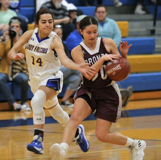 Bronte High School's E'lexia Davis tries to maintain control of the ball as Veribest's Cassandra Casas tries to make a steal during a game at Veribest on Tuesday, Jan. 7, 2020.