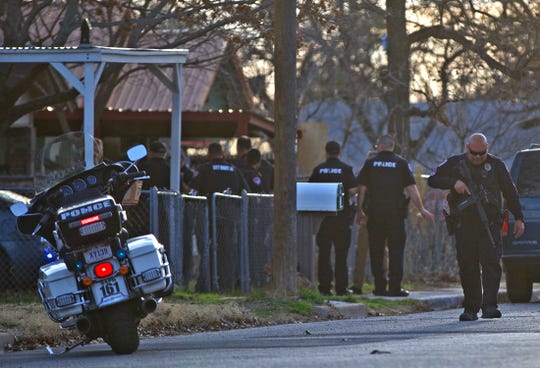 Officers with the San Angelo Police Department control a scene on the 100 block of W. 11th Street after a standoff with a suicidal suspect ended with the individual in custody Wednesday, Jan. 8, 2020.