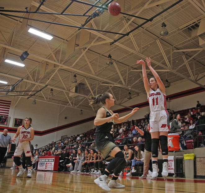 Emma Toliver, right, takes a shot at the basket for Ballinger during a game against Brady on Tuesday, Jan. 7, 2020.