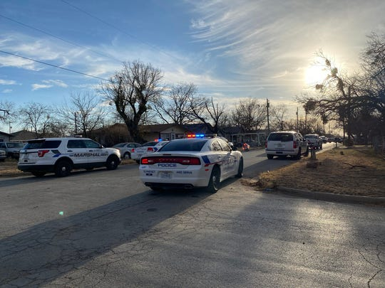 San Angelo police are in the 100 block of W. 11th Street after a man threatened to harm himself Wednesday, Jan. 8, 2020.