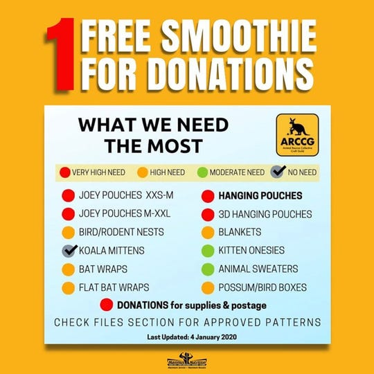List of items needed that can be donated to Maximus Nutrition to help animals in danger of Australia bushfires.