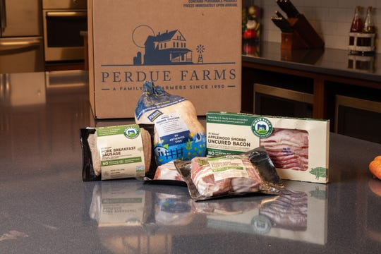 A promotional photo illustrates a possible combination of products available for home delivery via Perdue Farms' new online ordering website, perduefarms.com.