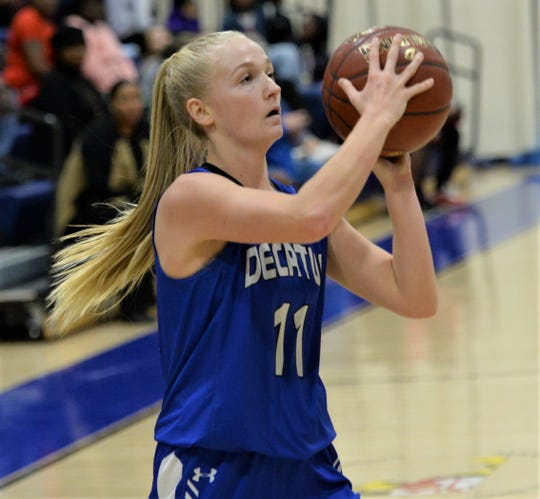 Stephen Decatur guard Sarah Engle takes a shot from the corner on Tuesday, Jan. 7, 2020.