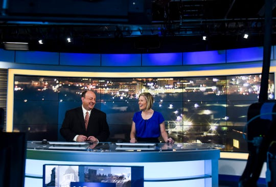 Anchors Brian Allen and Kelsie Passolt rehearse on Wednesday, Jan. 8, 2020 in the Dakota News Now studio. Gray Television, the owner of KSFY-TV, purchased news station KDLT merging the two news networks. Monday, Jan. 13, 2020 will be the official launch date for the merger.
