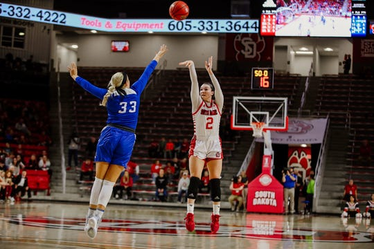 South Dakota guard Liv Korngable shoots over a Creighton guard.