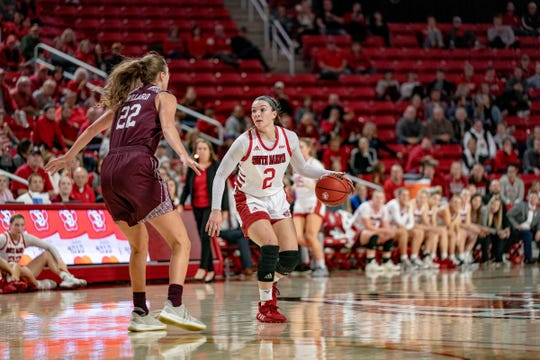 South Dakota guard Liv Korngable looks to pass against Missouri State.