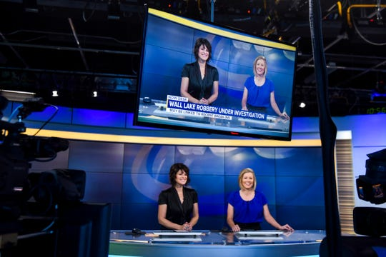 Anchors Carleen Wild and Kelsie Passolt rehearse on Wednesday, Jan. 8, 2020 in the Dakota News Now studio. Gray Television, the owner of KSFY-TV, purchased news station KDLT merging the two news networks. Monday, Jan. 13, 2020 will be the official launch date for the merger.