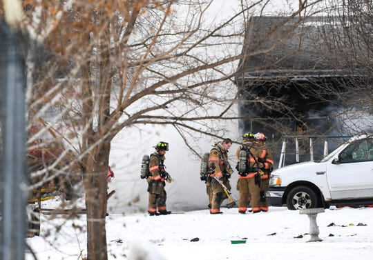 Emergency crews respond to a house fire on Wednesday, Jan. 8, 2020 near the 3200 block of N. Highland Avenue in northeastern Sioux Falls.