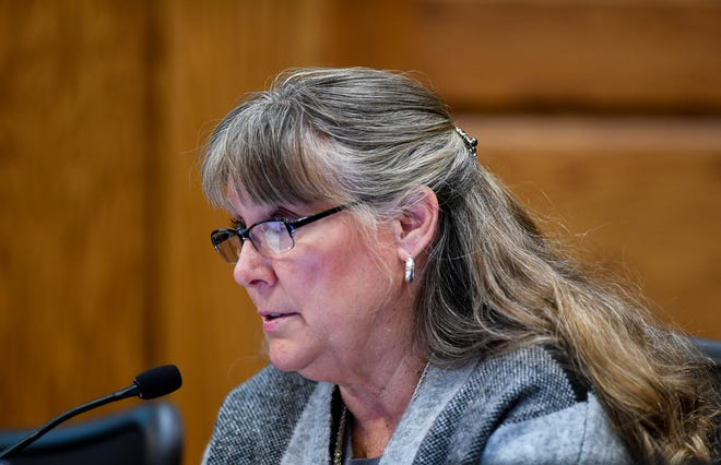 Councilor Theresa Stehly speaks during a Sioux Falls City Council meeting on Tuesday, Jan. 7, 2020 at Carnegie Town Hall.