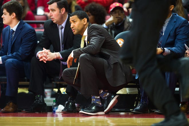 Missouri State head men's basketball coach Dana Ford looks on during first-half action of the Bears' Missouri Valley Conference game against Illinois State, Ford's alma mater, on Tuesday, Jan. 7, 2020, at Redbird Arena in Normal, Ill.