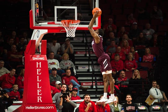 Missouri State guard Keandre Cook takes off for a dunk in the first half of the Bears' Missouri Valley Conference game against Illinois State on Tuesday, Jan. 7, 2020, at Redbird Arena in Normal, Ill.