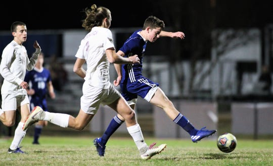 Maclay freshman RJ Hosay takes a shot on goal as the Marauders beat Florida High 3-1 behind Hosay's two goals on Jan. 7, 2019.