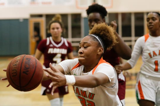 Florida A&M DRS' Kenniynia Patterson reaches for a rebound during a game vs. Florida High on Tuesday, Jan. 7, 2020.