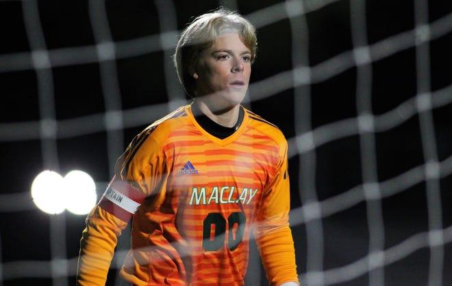 Maclay senior keeper Hudson Williams watches for a corner kick as Maclay beat Florida High 3-1 on Jan. 7, 2019.