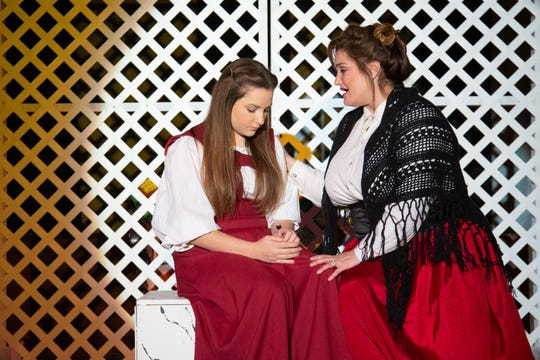 """Marmee (Jessica Wright Ogden) comforts Jo (Madison Ducatt) in her time of loss, and promises that there will still be """"Days of Plenty"""" to come in Monticello Opera House's production of """"Little Women."""""""