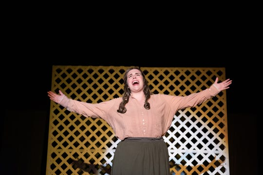 """Jo March (Courtney Fitzgerald) accepts her mother's challenge to find """"The Fire Within Me"""" in Monticello Opera House's production of """"Little Women."""""""