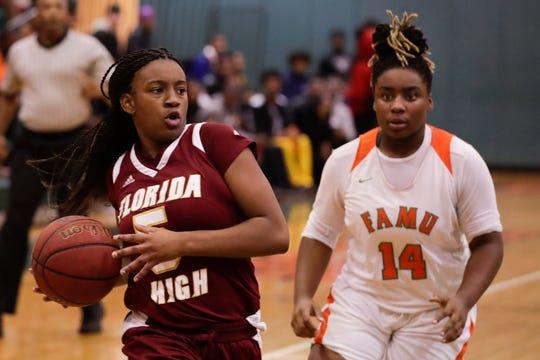 Florida High's Tonie Morgan (5) drives during a game between FAMU DRS and Florida High at FAMU DRS Tuesday, Jan. 7, 2020.