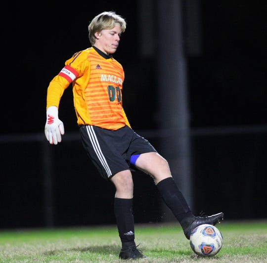 Maclay keeper Hudson Williams plays a pass as Maclay beat Florida High 3-1 on Jan. 7, 2019.