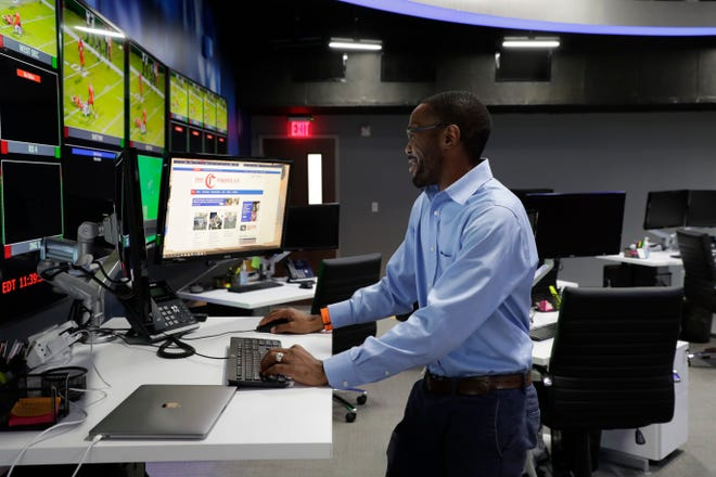 Black News Channel Executive Producer Jason Knight works in the newsroom Tuesday, Jan. 7, 2020.
