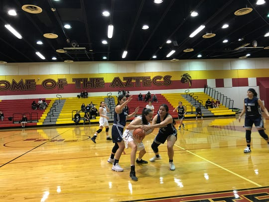 El Dorado and Del Valle faced off in District 2-5A girls basketball action on Tuesday at El Dorado High school. The Aztecs won, 43-34, to improve to 6-2 in district.