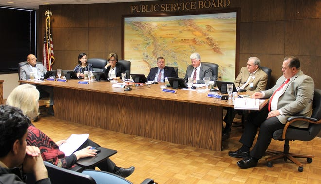 The seven-member El Paso Public Service Board and El Paso Water CEO John Balliew, far right, are shown at the PSB's Jan. 8, 2020, meeting.