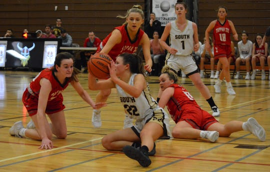 Lily Palmer comes up with a critical loose ball in the fourth quarter for Clarkstown South, which nearly erased a 23-point deficit before falling to Tappan Zee 58-54 on Jan. 7, 2020 at Clarkstown South High School.
