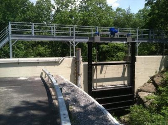 A new sluice gate at the Bowman Avenue dam in Rye Brook is designed to help regulate the flow of water downstream along the Blind Brook and ease flooding in Rye.